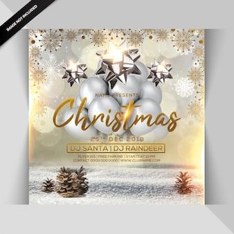 クリスマスパーティーの招待状または正方形のチラシテンプレート
