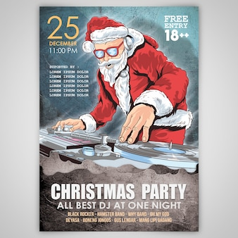 Christmas party santa claus psd template