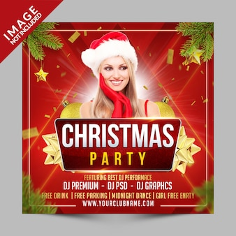Christmas party square poster or flyer template, new year's eve invitation for club event
