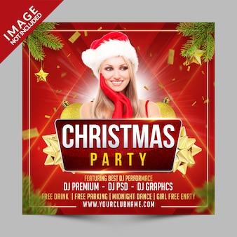 Рождественская вечеринка квадратный плакат или шаблон флаера, новогоднее приглашение на клубное мероприятие