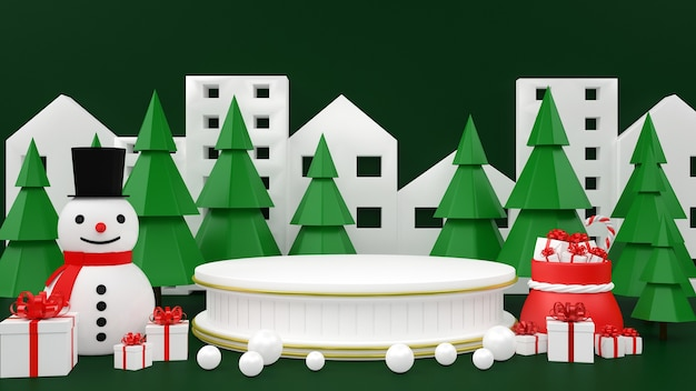 Christmas pastel mockup podium display of giftbox snowman