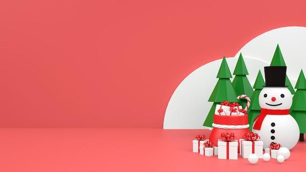 Christmas pastel mockup podium display of giftbox snowman