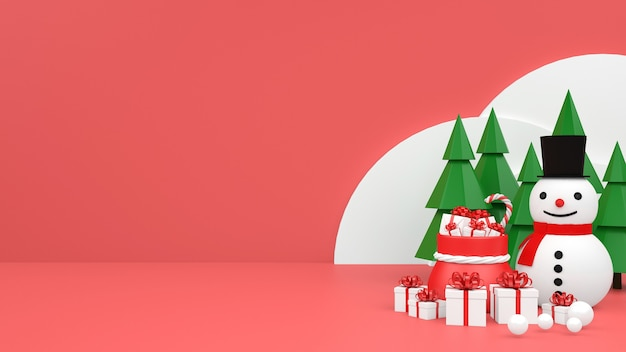 Рождественский пастельный макет подиума с подарочной коробкой снеговика