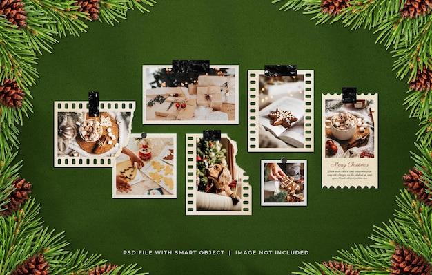 Рождественская рамка для фотопленки moodboard mockup