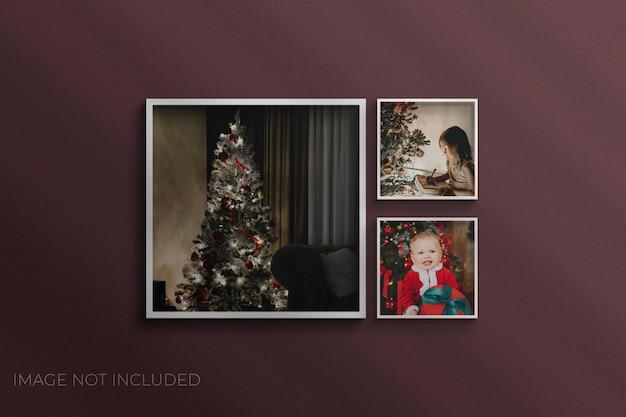 Новогодняя фоторамка мокап фотошоп