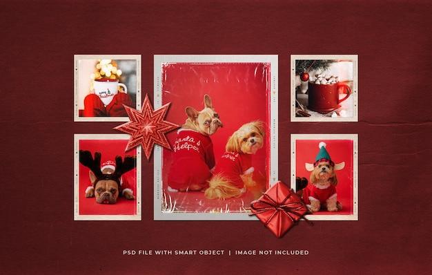 Рождественские рамки для фотобумаги и пленки moodboard mockup