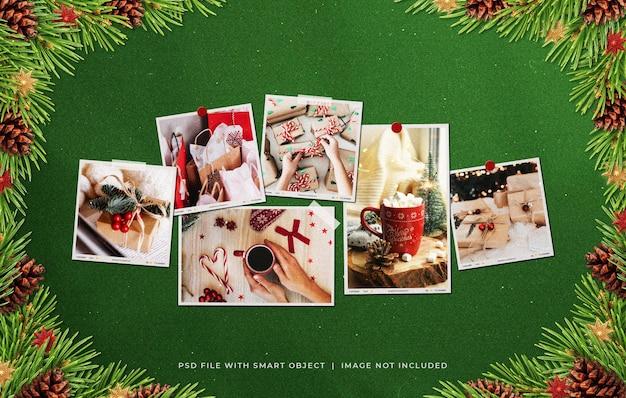 Рождественская рамка для фотографий из бумаги moodboard mockup