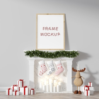 Christmas picture frame on fireplace, leaning against wall 3d rendering mockup