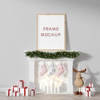 暖炉の上のクリスマスの額縁、壁に寄りかかって3dレンダリングのモックアップ