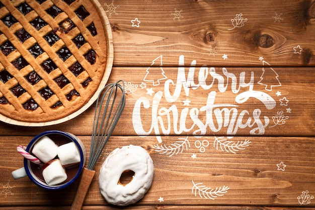 Christmas pie and hot chocolate with copy space