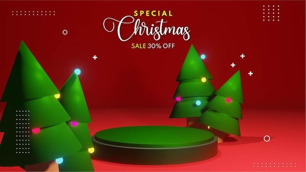製品プレゼンテーションの配置のためのクリスマス表彰台の3dレンダリング