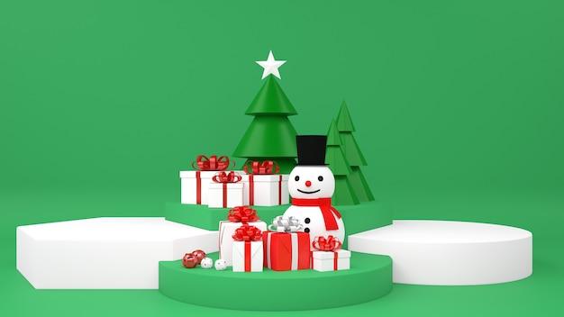Рождественский подиум с пьедесталом снеговика и подарками