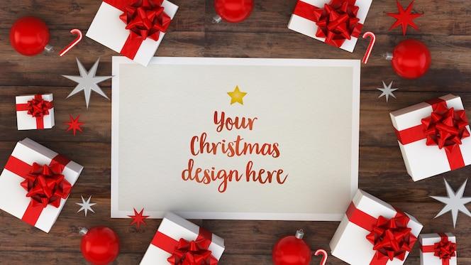 Christmas postcard mockup with goft boxes