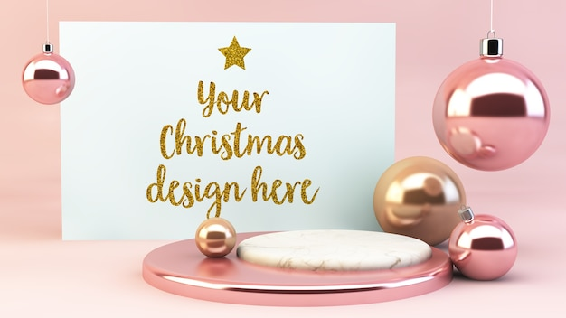 Christmas postcard mockup with pink baubles