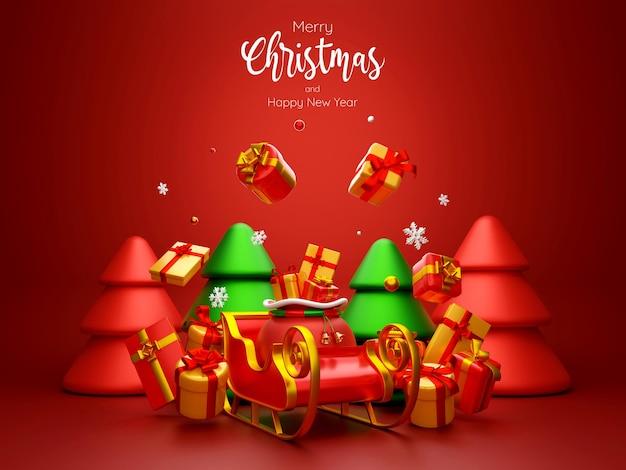 빨간색 배경 3d 그림에 크리스마스 가방과 썰매의 크리스마스 엽서