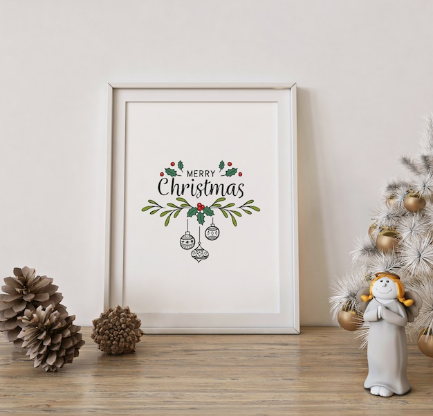 Christmas poster frame mockup with white christmas tree and decoration