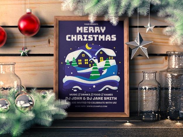 クリスマスポスターモックアップ