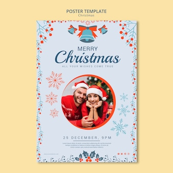 Christmas poster template with photo