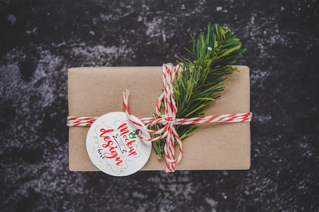 Christmas present tag on gift box