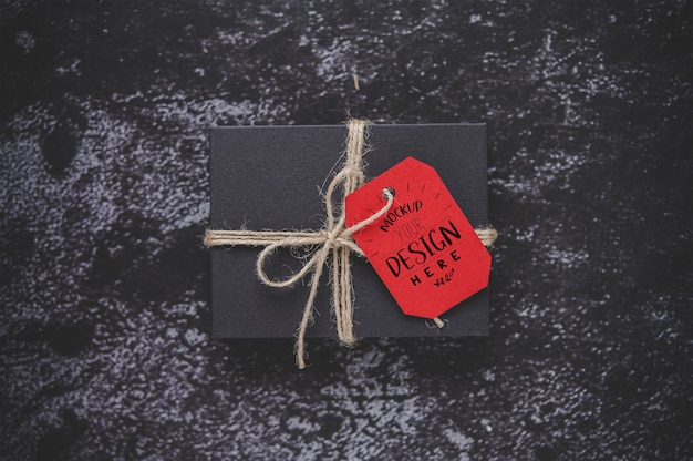 Christmas present tag on gift box