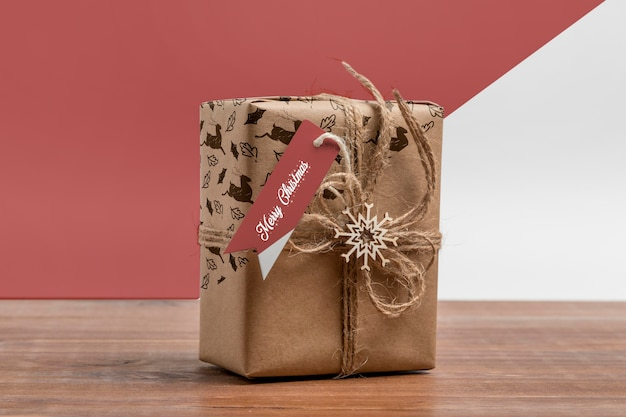 Christmas present with label mockup Free Psd