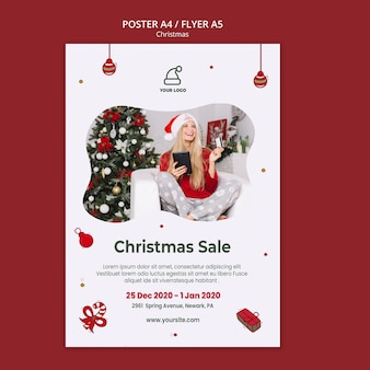 Christmas presents shop flyer template