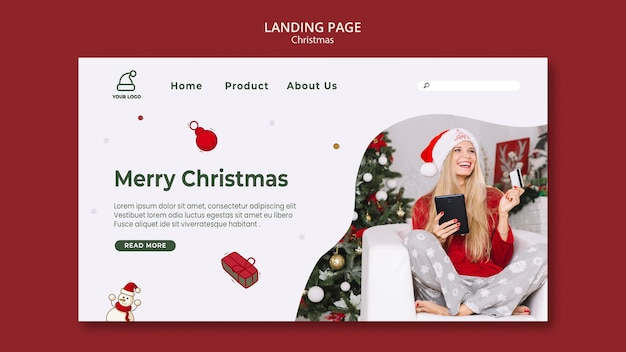Целевая страница шаблона магазина рождественских подарков