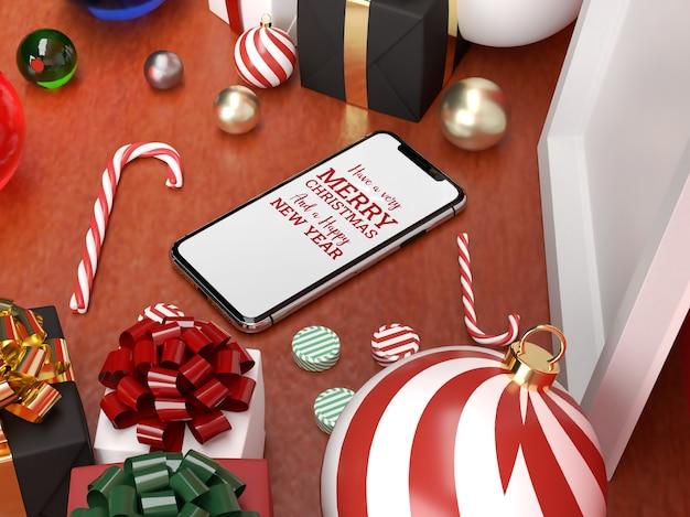 Рождественская реалистичная сцена с мобильным макетом и украшениями