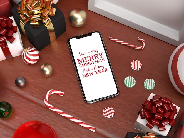 Christmas realistic scene with mobile mockup and ornaments