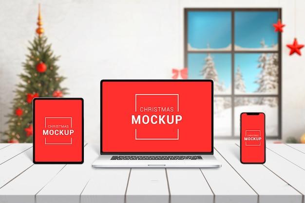 Christmas responsive devices mockup