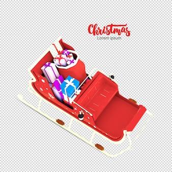 고립 된 3d 렌더링에 크리스마스 인력거