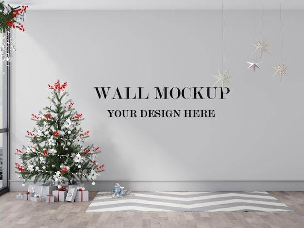 Christmas room wall mockup 3d render