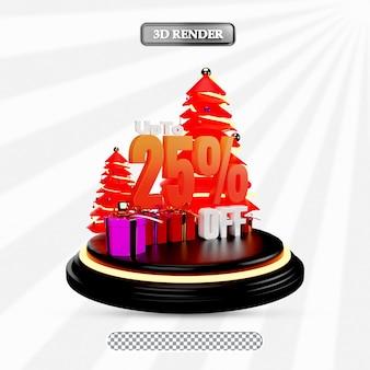 Christmas sale 25 percent discount 3d illustration