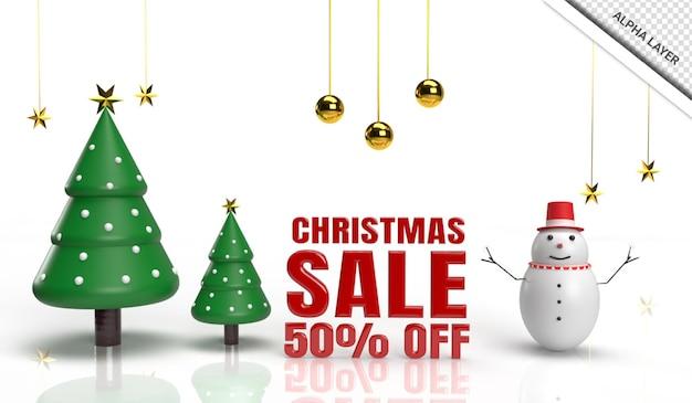 Рождественская распродажа 3d визуализации елки со снеговиком