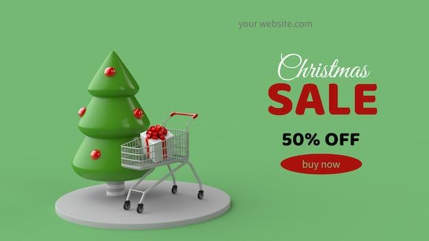 Рождественская распродажа макет баннера в 3d иллюстрации