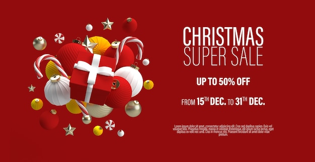 Рождественская распродажа баннер шаблон с подарком в центре и елочными игрушками