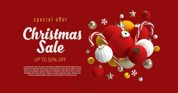 Christmas sale banner with christmas ornaments mockup