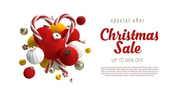 Рождественская распродажа баннер с макетом рождественских украшений
