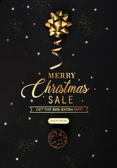 Christmas sale banner with discount template