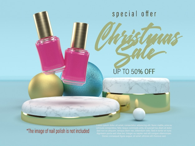 Christmas sale banner with marbled podiums and christmas balls