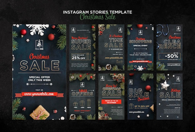 Christmas sale concept instagram stories template