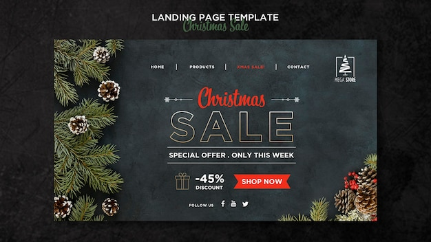 Christmas sale concept landing page template