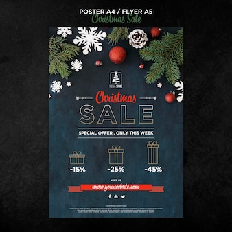 Christmas sale concept poster template