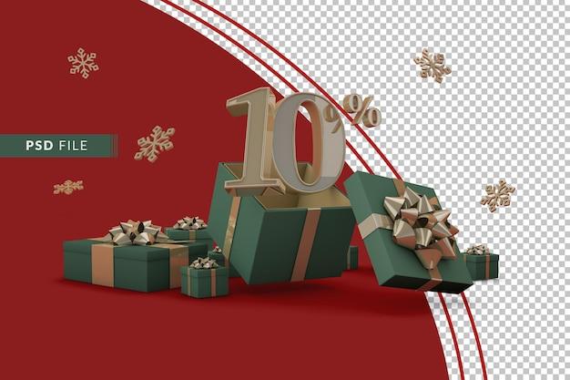 Концепция рождественской распродажи с 10-процентной скидкой на рекламные подарочные коробки