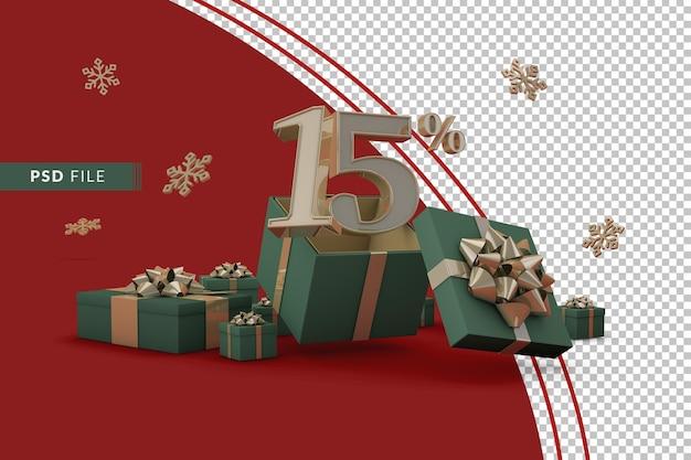 Концепция рождественской распродажи с 15-процентной скидкой на рекламные подарочные коробки