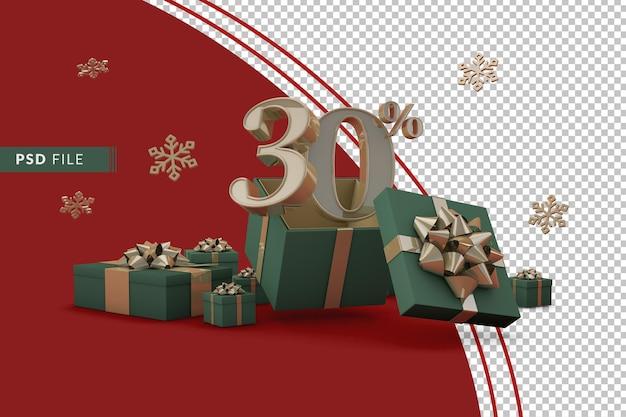 Концепция рождественской распродажи с 30-процентной скидкой на рекламные подарочные коробки