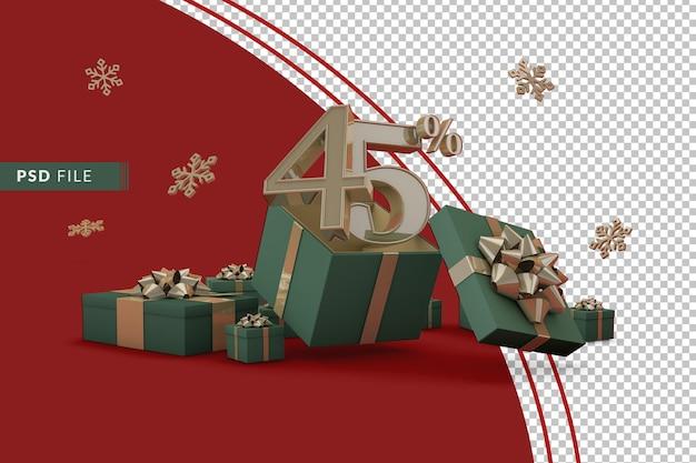 Концепция рождественской распродажи со скидкой 45% на рекламные подарочные коробки