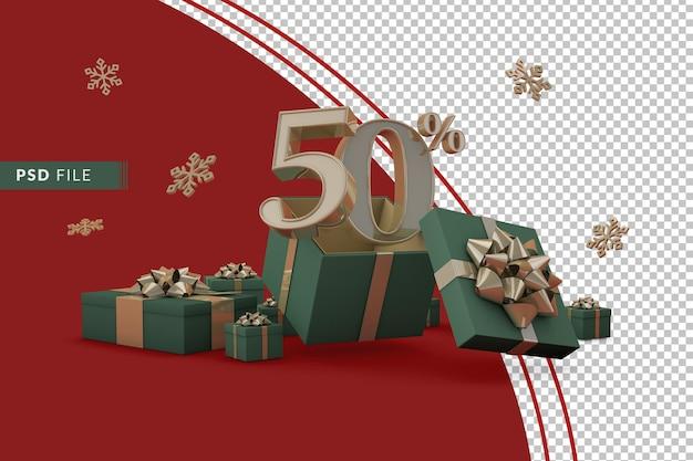 Концепция рождественской распродажи с 50-процентной скидкой на рекламные подарочные коробки