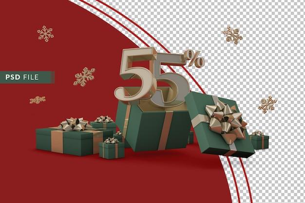 Концепция рождественской распродажи со скидкой 55% на рекламные подарочные коробки