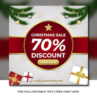 Christmas sale discount banner on white and snow pattern